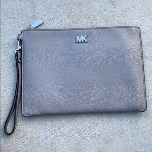 Michael Kord Gray Clutch Wristlet Leather Bag
